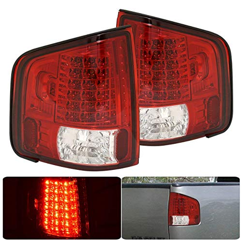 Fit 1994-2004 Chevy S10 Truck / 1994-2004 GMC Sonoma / 1996-2000 Isuza Hombre Led Tail Lights Red Lens/Chrome Housing