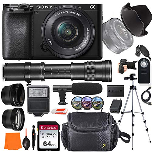 Sony Alpha a6100 Mirrorless Digital Camera with 16-50mm and 420-800mm Telephoto Lens + Wide-Angle & Telephoto Conversion Lens, 64GB Memory Card, Microphone, Digital Flash, Gadget Bag & More…