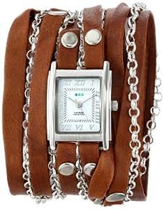 La Mer Collections Women's LMCLIFTON003 Tobacco Silver Clifton Wrap Watch