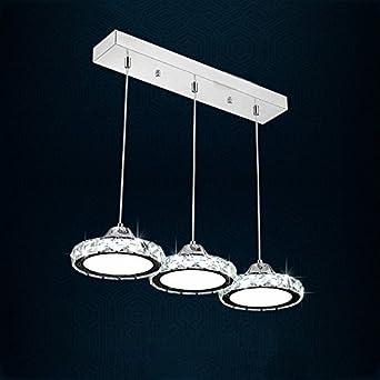 LED Kristall Edelstahl Restaurant Hngende Lampe 3heads Modernes Einfaches Rundes Wohnzimmer Esszimmer