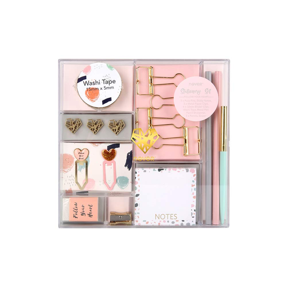 Pink Style School Office Stationery Gift Kit Desktop Supplies Set of 16 Items Products (Pink)