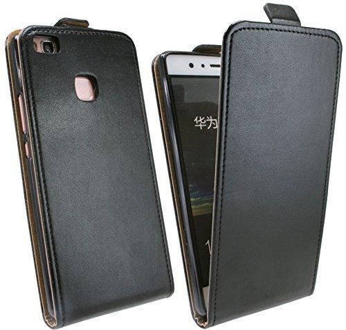 Huawei P9 LITE // Klapptasche Schutztasche in Schwarz Tasche Hülle Etui Cover Case Bag @ Energmix