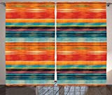 Mexican Decorations Curtains Vibrant Vintage Aztec Motif with Gradient Blurred Lines Ecuador Crafts Image Living Room Bedroom Window Drapes 2 Panel Set Multi