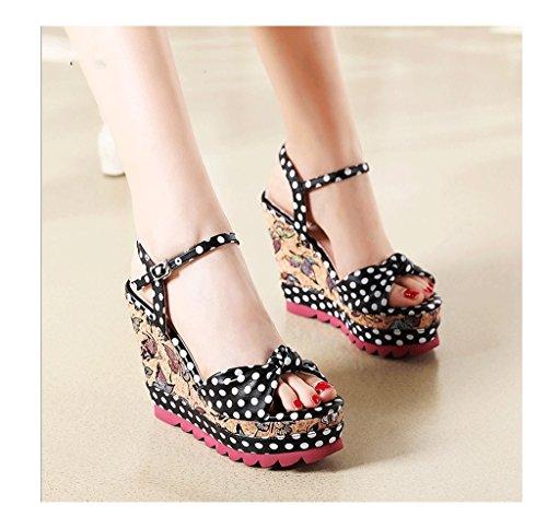 taille Noir sandales à femme 36 chaussures talons sandales national Rouge Couleur cheville de épais style Chaussures tressées de ZRqTgw