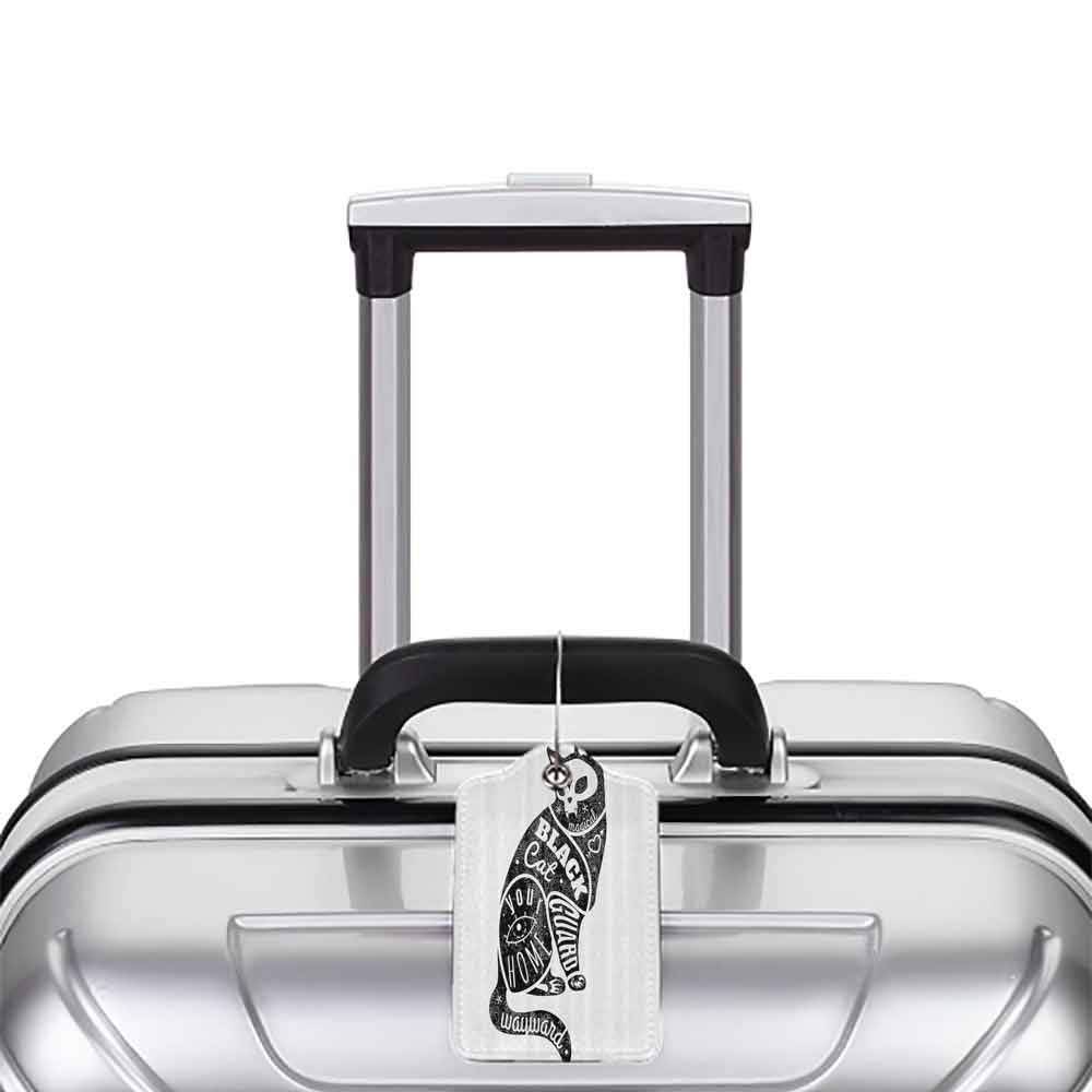 Printed luggage tag Modern Black Fortune Magician Skull Cat Drawing with Part Magical Quote Artwork Image Protect personal privacy Black and White W2.7 x L4.6