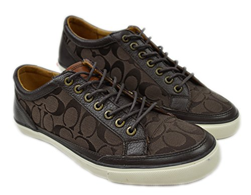 Coach New York Men's Q6129 Porter Leather Casual Sneakers Mahogany Brown 12 M - Mens Coach Sneakers