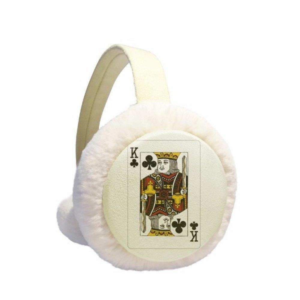 Club K Playing Cards Pattern Winter Earmuffs Ear Warmers Faux Fur Foldable Plush Outdoor Gift
