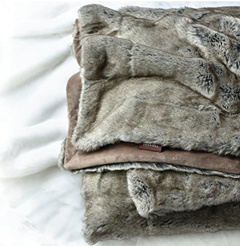 Luxury Faux Fur Throw Blanket Super Soft Oversized Thick Warm Afghan Reversible to Plush Velvet in Tan Grey Wolf, Cream Mink or Blush Chinchilla, Machine Washable 60 by 70 Inch (Tan Taupe)