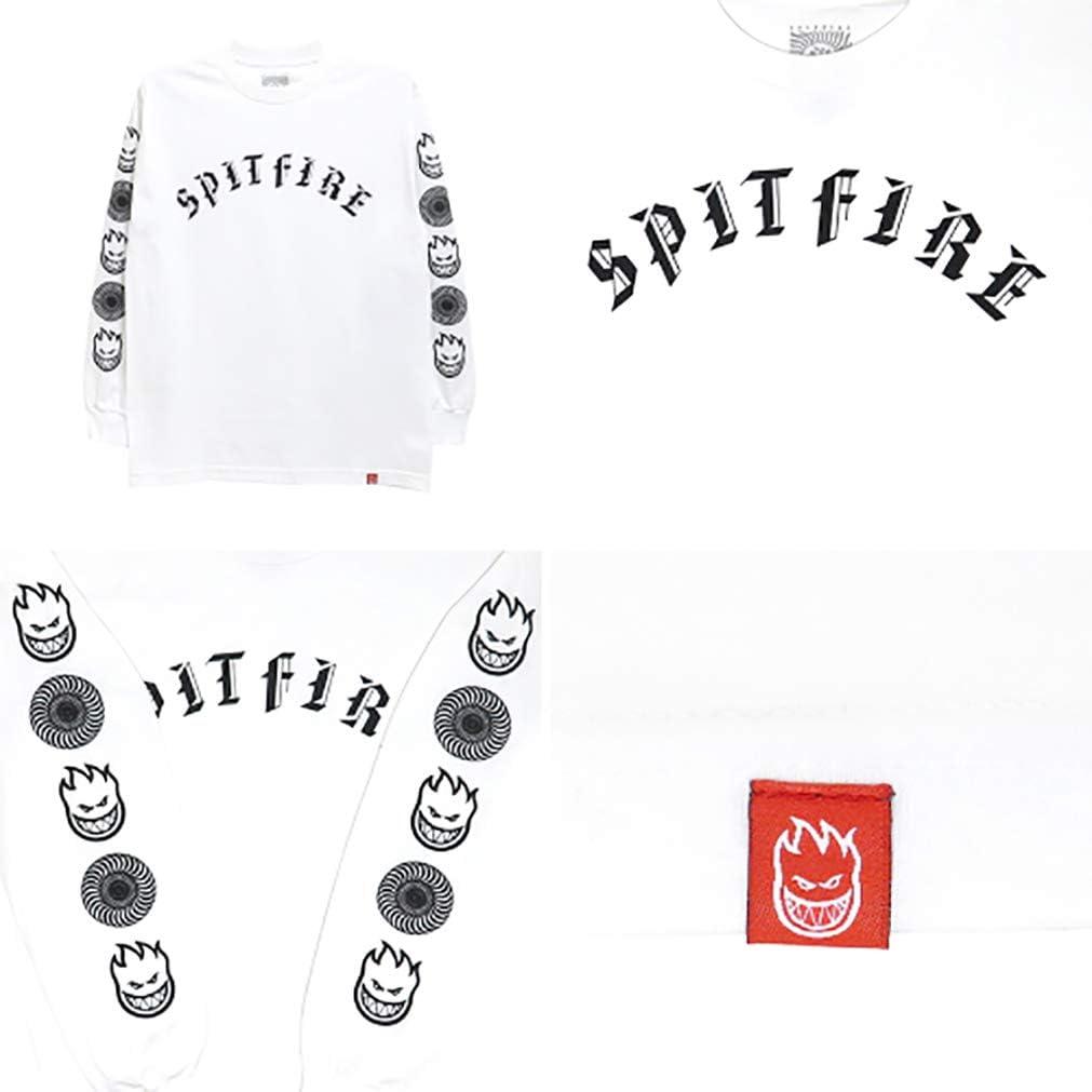 Spitfire Old /& Combo Sleeve Maglia Manica Lunga White//Print Black