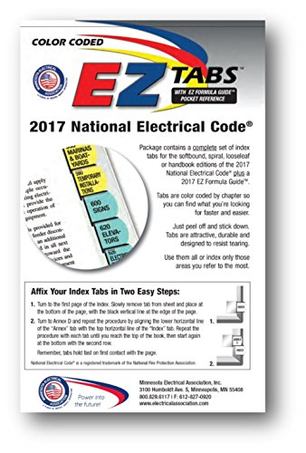 - Color Coded EZ Tabs for the 2017 National Electrical Code