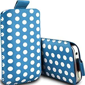 ONX3 Huawei Ascend y300 Leather Slip protectora Polka PU de cordón en la bolsa de la liberación rápida (Baby Blue & White)