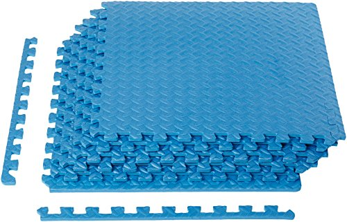 AmazonBasics EVA Foam Interlocking Exercise Gym Floor Mat Tiles - Pack of 6, 24 x 24 x .5 Inches, Blue
