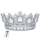 Stuffwholesale Crystal Rhinestone Full Size Royal Crown Tiaras Pageant Prom Wedding Women Headwear with Bobby Pins (Crystal)