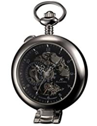 KS KSP063 Men's Skeleton Silver Half Hunter Hand-Winding Mechanical Analog Pocket Watch + Chain