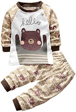 Allence Neugeborenes Baby Jungen Mädchen Cartoon Bär Schlafanzug Pullover Tops Shirt + Hosen Outfits Set