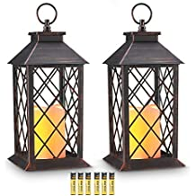 "Evermore Light 14"" Copper Brushed Vintage Style Candle Lantern with 4 Hours Timer (Batteries Included) Hanging Lantern for Indoor&Outdoor Flameless Candles Decorative-Candles-Lanterns (Set of 2)"