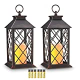 Cheap Evermore Light 14″ Copper Brushed Vintage Style Candle Lantern with 4 Hours Timer (Batteries Included) Hanging Lantern for Indoor&Outdoor Flameless Candles Decorative-Candles-Lanterns (Set of 2)