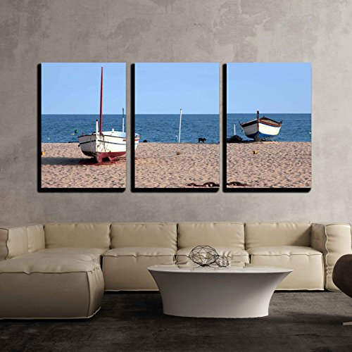 Sandy beach and the waves of the Mediterranean Sea x3 Panels