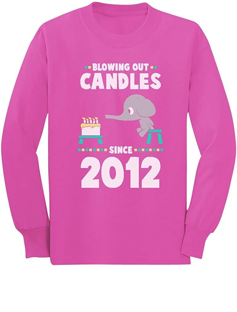 5th Birthday Blowing Out Candles Since 2012 Toddler//Kids Long Sleeve T-Shirt 5//6 Pink