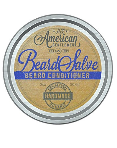 Beard Salve by All American Gentlemen (2 oz) - Beard Balm and Mustache Wax Supports Growth, Softens Hair, Reduces Itch - Bold, Fresh Scent - Non-Greasy Leave-In Formula - 100% Natural and Organic AAGBS01