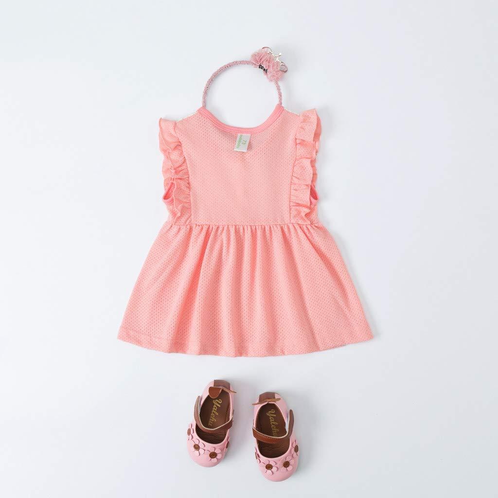 e61cfaea4e3 Amazon.com  BSGSH Baby Girls Eyelet Ruffle Dress Sleeveless Flower Princess Dress  Clothes  Clothing
