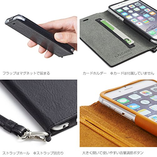 Hamee Original High Quality Galgano Leather Diary Case for iPhone 6 / iPhone 6s by Badalassi Carlo (Black)