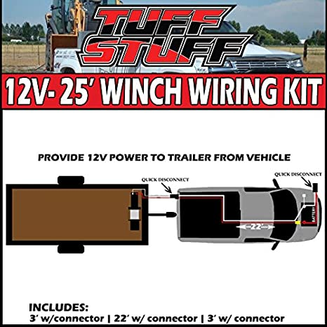 amazon com: tuff stuff overland ts-22ft-pk 22 foot winch permanent wiring  kit for front/rear 2 gauge: automotive