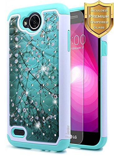 LG Fiesta 2, LG X Charge, LG X Power 2 / Fiesta LTE / K10 Power Case w/[Tempered Glass Screen Protector], NageBee Glitter Diamond Studded Rhinestone Sparkle Shiny Bling Girls Cute Case -Plum