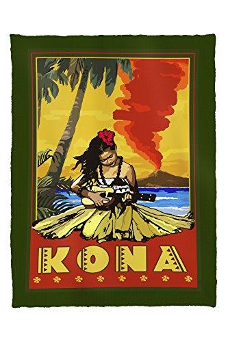 Kona, Hawaii - Hula Girl and Ukulele (60x80 Poly Fleece Thick Plush - Stores Hawaii Kona In
