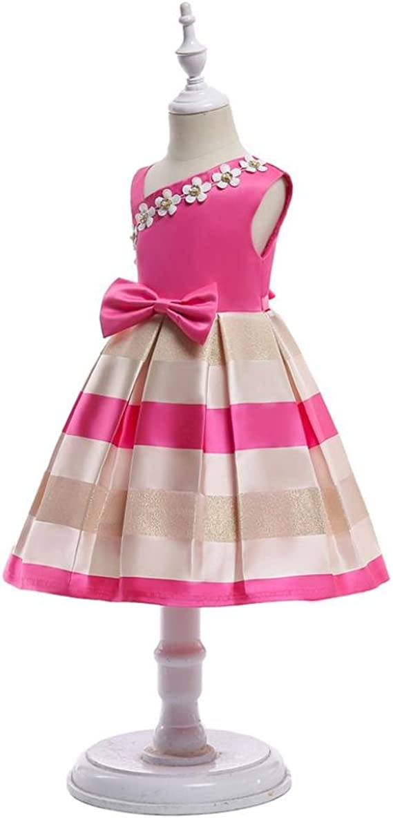 KONFA Teen Baby Girls Floral Sleeveless Bridesmaid Dress,Suitable for 2-8 Years Old,Little Princess Bowknot Skirt Set
