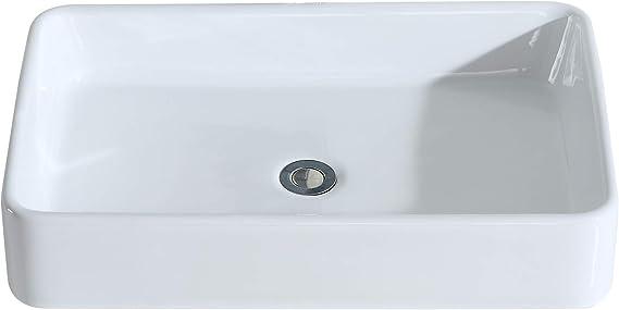 44,5x40x14,5cm Fregadero de Rect/ángulo sobre Encimera de Serie Kengo Eridanus Lavabo de Cer/ámica