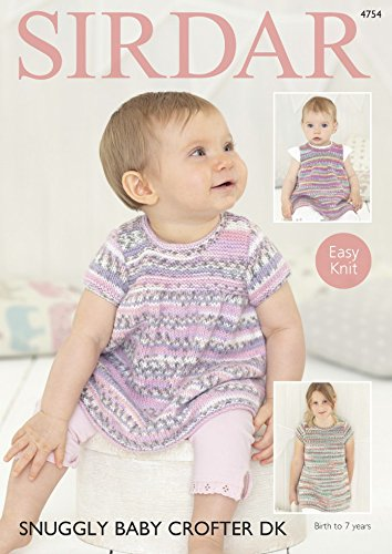 Sirdar 4754 Knitting Pattern Baby Girls Easy Knit Dresses In