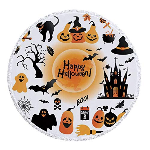 iPrint Thick Round Beach Towel Blanket,Halloween Decorations,All Hallows Day Objects Haunted House Owl and Trick or Treat Candy,Orange Black,Multi-Purpose Beach Throw -