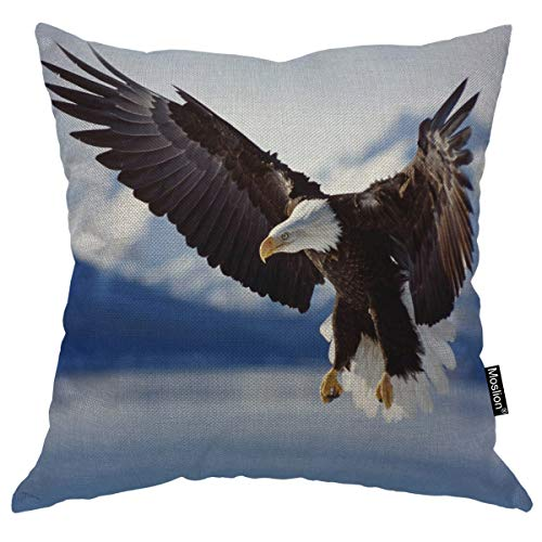 Moslion Throw Pillow Cover Bald Eagle 18x18 Inch Fly On The River Snow Mountain Animal Square Pillow Case Cushion Cover for Father's Day Home Car Decorative Cotton Linen