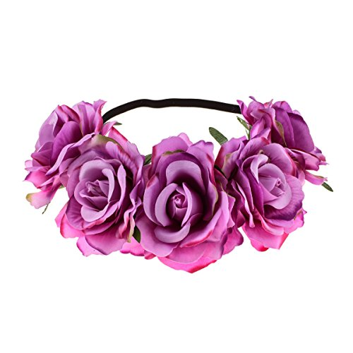 June Bloomy Rose Floral Crown Garland Flower Headband Headpiece for Wedding Festival (Purple)