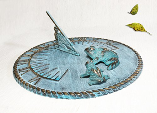 Brass Decorative Sundial 10'' Inches Wide - With 2 Frogs by Taiwan