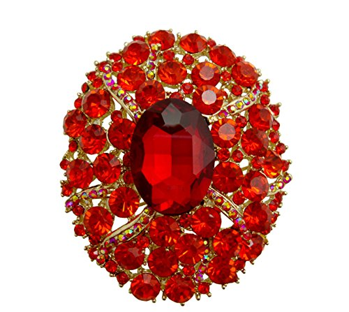 (TTjewelry Gorgeous Oval Art Nouveau Luxury Brooch Austrian Crystal (Red))