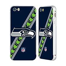 Official NFL Stripes Seattle Seahawks Logo Silver Aluminum Bumper Slider Case for Apple iPhone 5 / 5s / SE