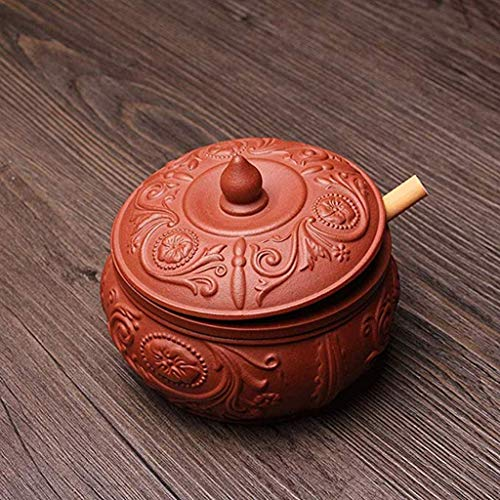 ZTMN Ashtray Ceramic Fashion Creative Personality Windproof Multi-Function with lid Retro Ashtray Suitable for Indoor or Outdoor use 10 7cm Brown (Color : B)