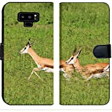 Luxlady Samsung Galaxy Note 9 Flip Fabric Wallet Case Image ID: 26016637 Springbok Wildlife Background from Africa Speed of Green and Gold