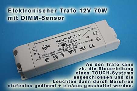 Dimmer Für Trafo Leuchten halogentrafo 230 12v 70w elektronisch mit touchsensor dimmer amazon