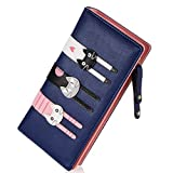 Women's Wallet Cute Cat Wallet Coin Purse Bifold Long Purse with Zipper Dark Blue