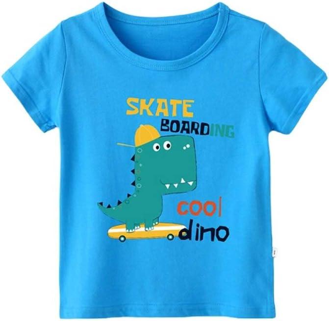 3-8T Eveliyning Babyboys Short Sleeve Cotton Top Daily Playwear with Cute Cartoon Dinosaur Printing Design Toddlers Casual Homewear Fashion Wild Boys Sport Bottoming Tee
