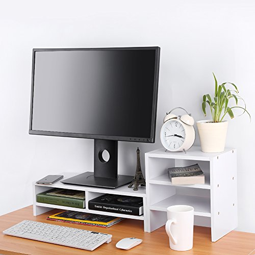 Computer Monitor Stand Riser with Drawers,Laptop TV Stand Desktop Wooden Storage Organizer Sit Monitor Risers + 3-Layer Shelf for Home Office,White