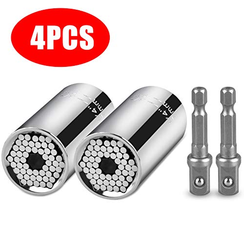 Universal Socket Grip Adapter Linkstyle 4PCS Grip Socket Set Ratchet Wrench Power Drill Adapter 1/4