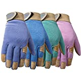 Wells Lamont 1037M Ultra Comfort Leather with Spandex Back, Womens Gardening Glove, Medium, Colors May Vary