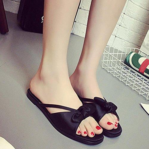 LANDFOX Zapatos de Bowknot de verano de las mujeres Peep-toe zapatos bajos Zapatos romanos de sandalias Flip Flops Negro
