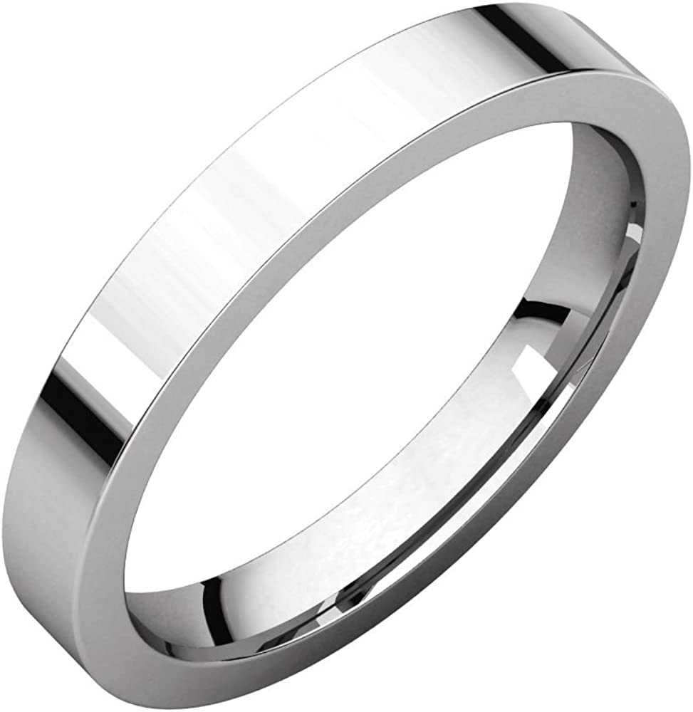 Jewels By Lux 925 Sterling Silver 3mm Flat Comfort Fit Mens Wedding Ring Band