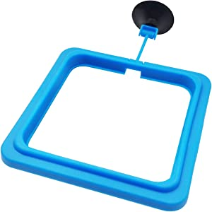1 Pcs Fish Feeding Ring Floating Food Feeder Circle with Suction Cup Easy to Install Aquarium (Square)