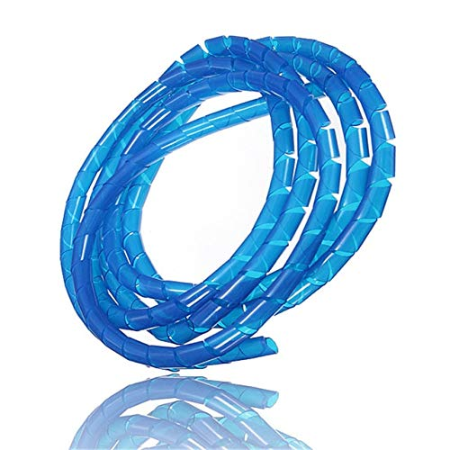 (Graven 2M Spiral Wire Organizer Wrap Tube Flame Retardant Colorful Spiral Bands Diameter Cable Casing Cable 6-60MM Sleeves Winding Pipe - (Color: Blue))